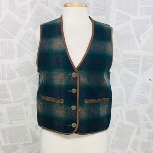 Vintage Reversible Wool Vest Green Tan Plaid S